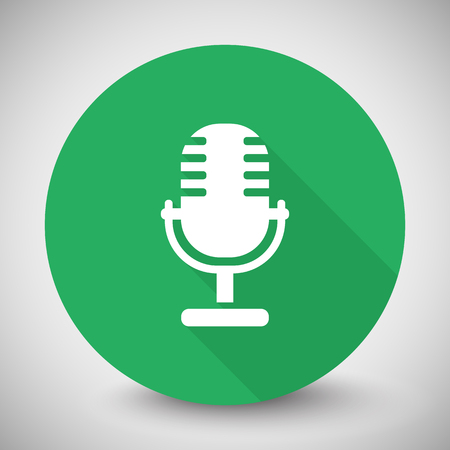 pod cast: White Microphone icon with long shadow on green circle