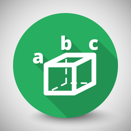 trigonometry: White Trigonometry icon with long shadow on green circle