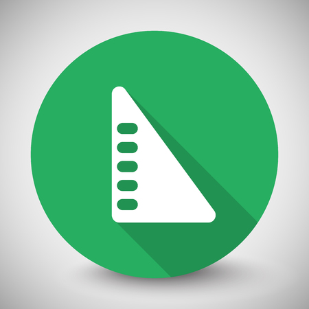 set square: White Set Square icon with long shadow on green circle