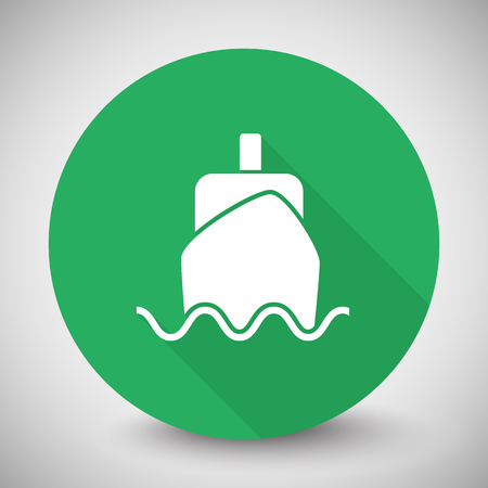 oversea: White Boat icon with long shadow on green circle Illustration