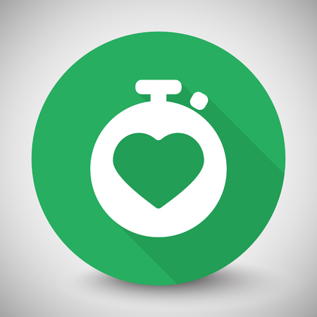 heart monitor: White Heart Rate Monitor icon with long shadow on green circle