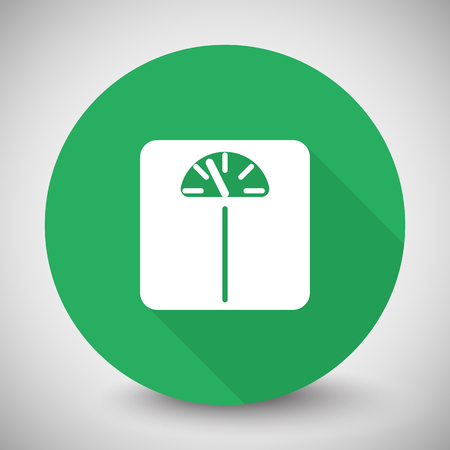 analog weight scale: White Personal Scale icon with long shadow on green circle