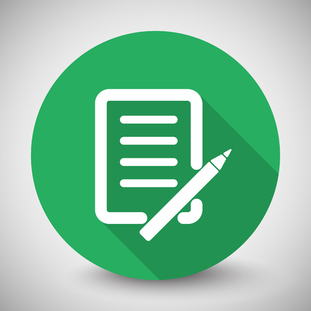 shadow: White Pen And Paper icon with long shadow on green circle Illustration