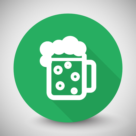 draught: White Beer icon with long shadow on green circle