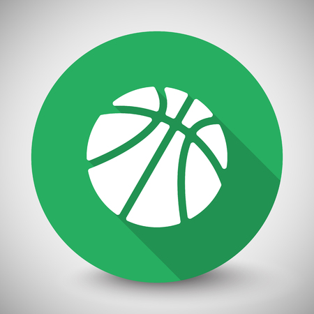 circle icon: White Basketball icon with long shadow on green circle