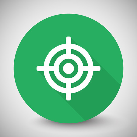 suppliers: White Target icon with long shadow on green circle