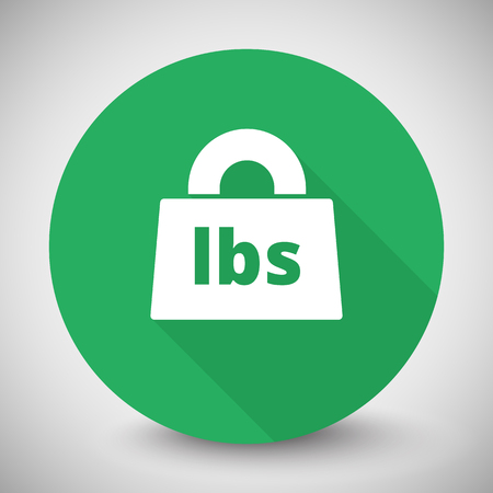 lbs: White Weight Pounds icon with long shadow on green circle Illustration