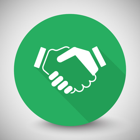 you are welcome: White Handshake Agreement icon with long shadow on green circle