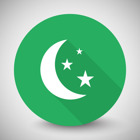 prognosis: White Moon And Stars icon with long shadow on green circle Illustration