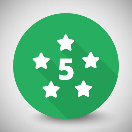 five star: White Five Star icon with long shadow on green circle
