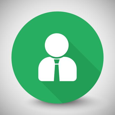 Weiß Benutzerprofil Symbol mit langen Schatten auf den grünen Kreis
