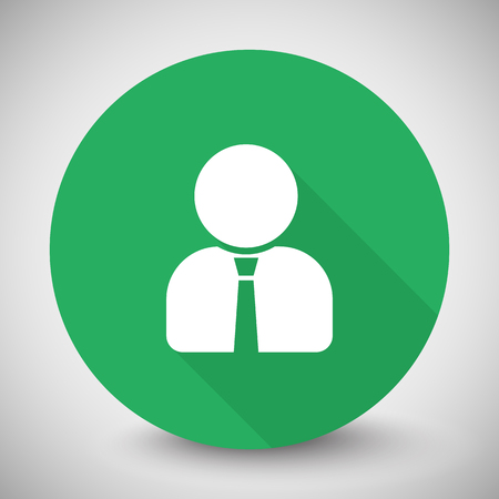 White User Profile icon with long shadow on green circle