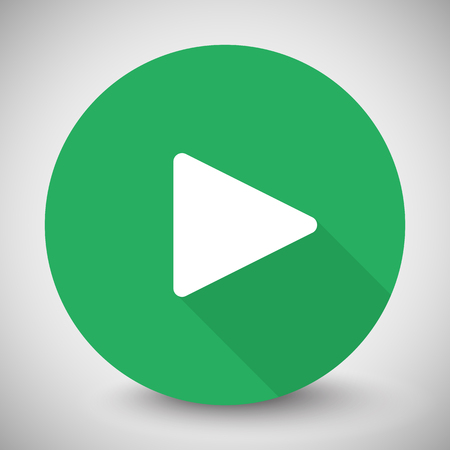 long play: White Play icon with long shadow on green circle Illustration