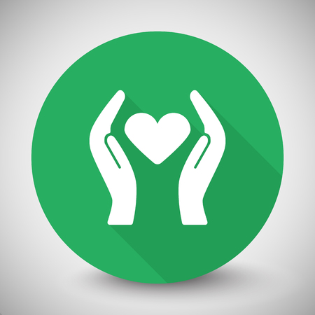 White Heart care icon with long shadow on green circle