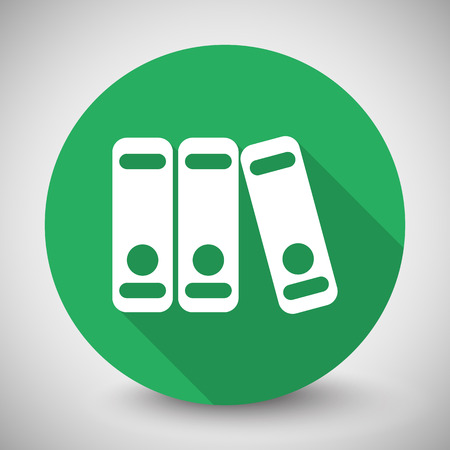 stack of files: White Binders icon with long shadow on green circle