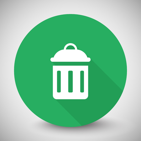 delete icon: White Delete icon with long shadow on green circle Illustration