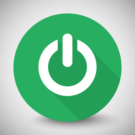 green power: White Power icon with long shadow on green circle