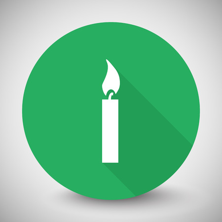 candle light: White Candle Light icon with long shadow on green circle