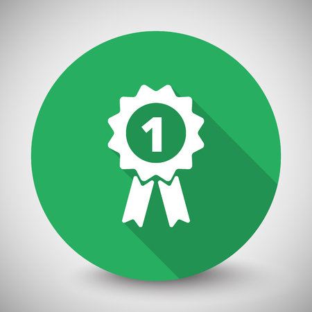 quality icon: White Prize Ribbon icon with long shadow on green circle Illustration