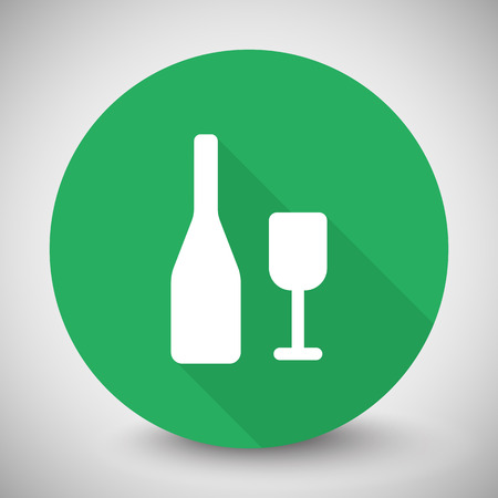 shots alcohol: White Wine icon with long shadow on green circle Illustration