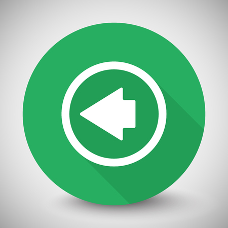 arrow left icon: White Arrow Left icon with long shadow on green circle