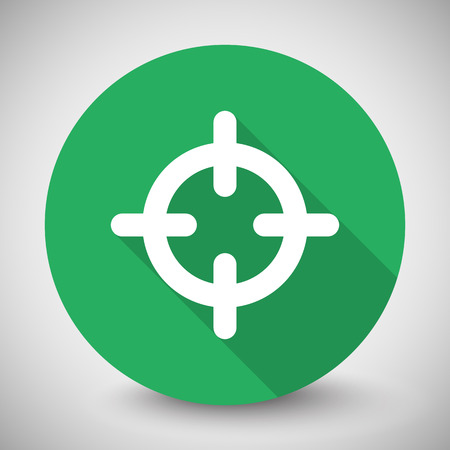 Scope: White Scope icon with long shadow on green circle