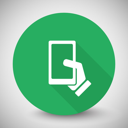 gsm phone: White Smartphone  icon with long shadow on green circle Illustration