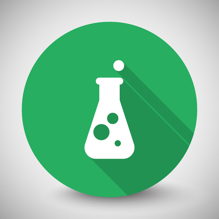 conical: White Conical Flask icon with long shadow on green circle