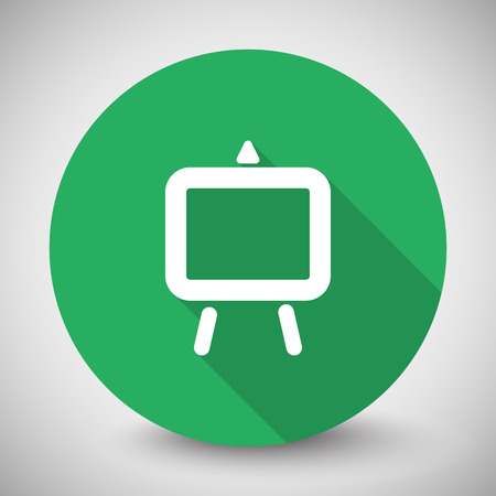 easel: White Easel icon with long shadow on green circle Illustration