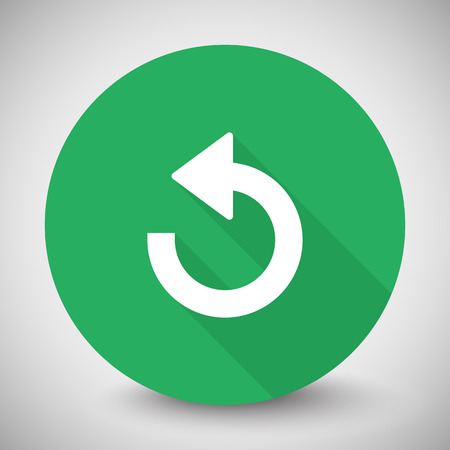 recover: White Undo icon with long shadow on green circle Illustration