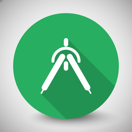 drafting: White Drafting Compass icon with long shadow on green circle