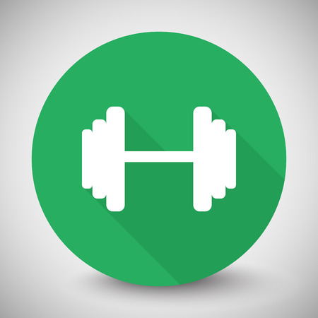circular muscle: White Dumbbell icon with long shadow on green circle