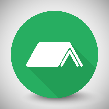long weekend: White Roof icon with long shadow on green circle Illustration