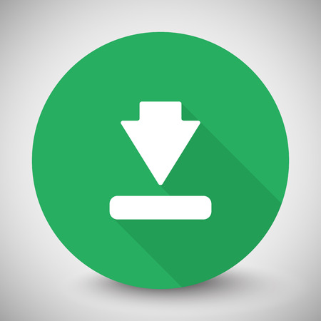 downloads: White Download icon with long shadow on green circle