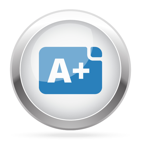 Blue Rating icon on white glossy chrome app button Illustration
