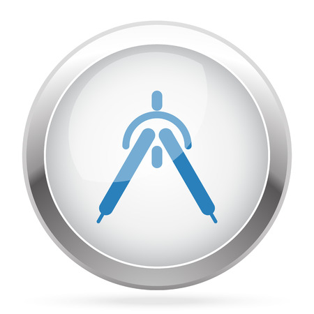 drafting: Blue Drafting Compass icon on white glossy chrome app button