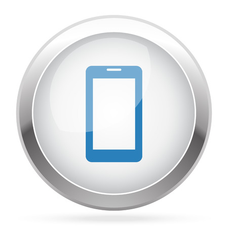 mobile app: Blue Mobile Phone icon on white glossy chrome app button