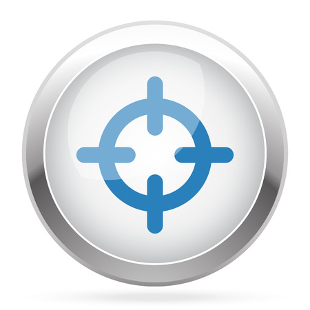 Blue Scope icon on white glossy chrome app button