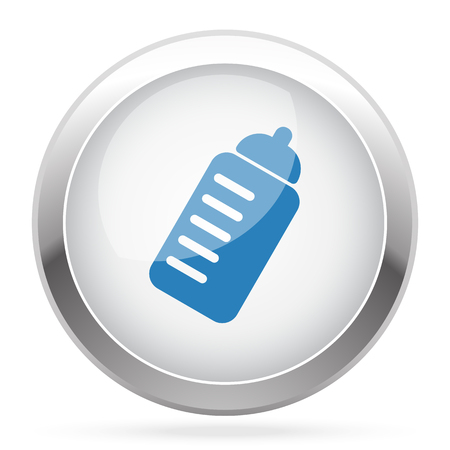 chrome: Blue Sport Drink icon on white glossy chrome app button Illustration
