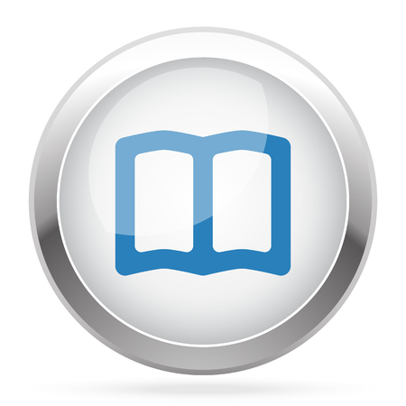 blue book: Blue Book icon on white glossy chrome app button