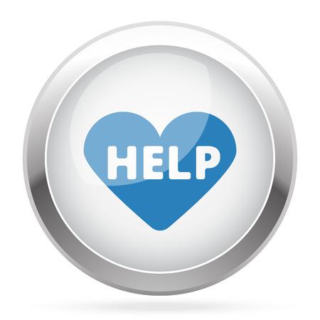 cardioverter: Blue Defibrillator  icon on white glossy chrome app button Illustration