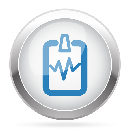 doctor appointment: Blue Cardiogram Clipboard icon on white glossy chrome app button