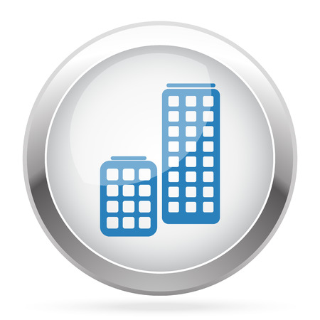 skyscrapers: Blue Skyscrapers icon on white glossy chrome app button
