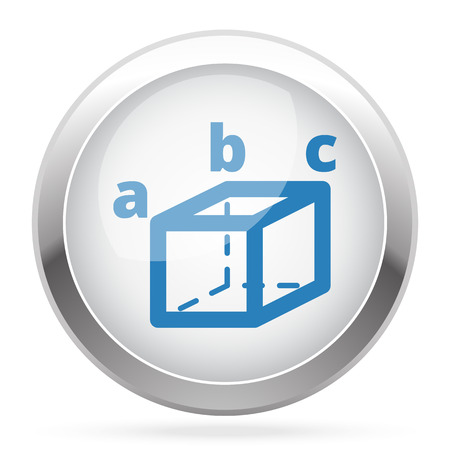 trigonometry: Blue Trigonometry icon on white glossy chrome app button