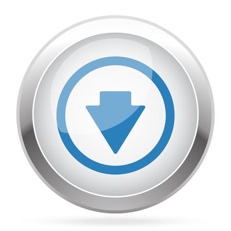 blue arrow: Blue Arrow Down icon on white glossy chrome app button Illustration