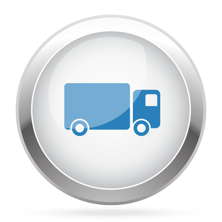 glossy button: Blue Delivery Truck icon on white glossy chrome app button Illustration