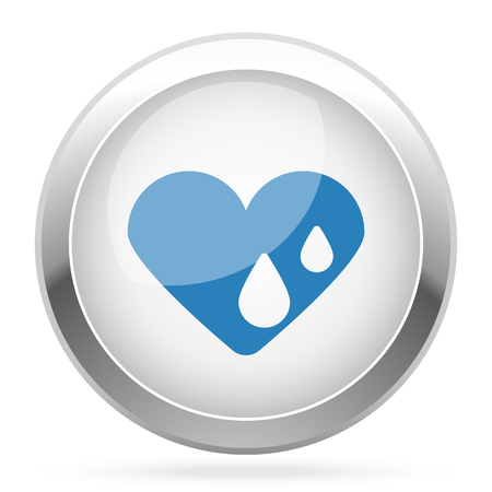 hes: Blue Heart Water icon on white glossy chrome app button Illustration