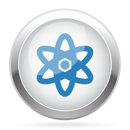 fission: Blue Nuclear icon on white glossy chrome app button Illustration