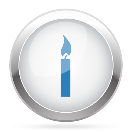 candle light: Blue Candle Light icon on white glossy chrome app button
