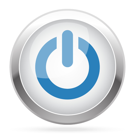 power nap: Blue Power icon on white glossy chrome app button